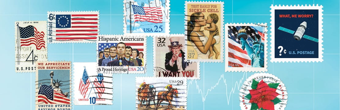A variety of U.S. themed and historical postal stamps
